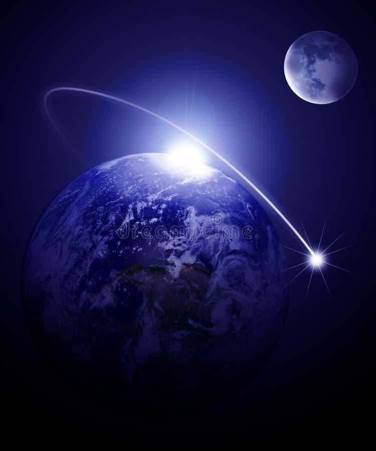 Erde und Mond lizenzfreie abbildung