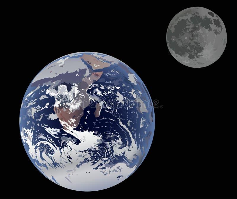 Erde und Mond getrennt auf Schwarzem stock abbildung