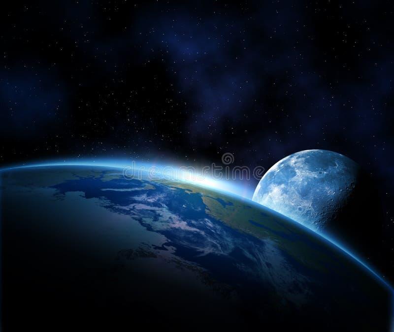 Erde und Mond im Platz vektor abbildung