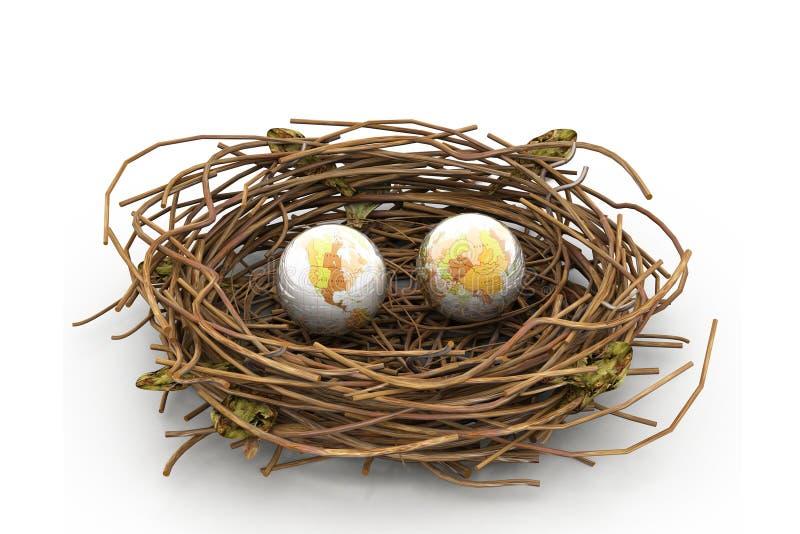 Erde und Nest stock abbildung