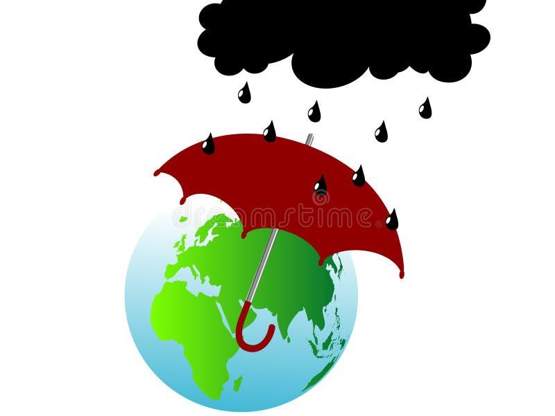 Erde und Regenschirm lizenzfreie abbildung