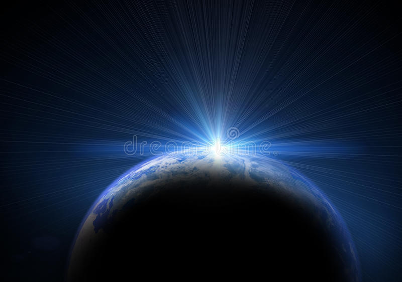 Erde und Sonne stock abbildung