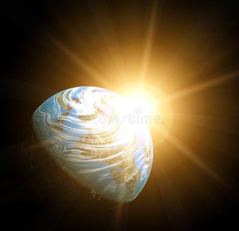 Erde und Sonne lizenzfreie abbildung
