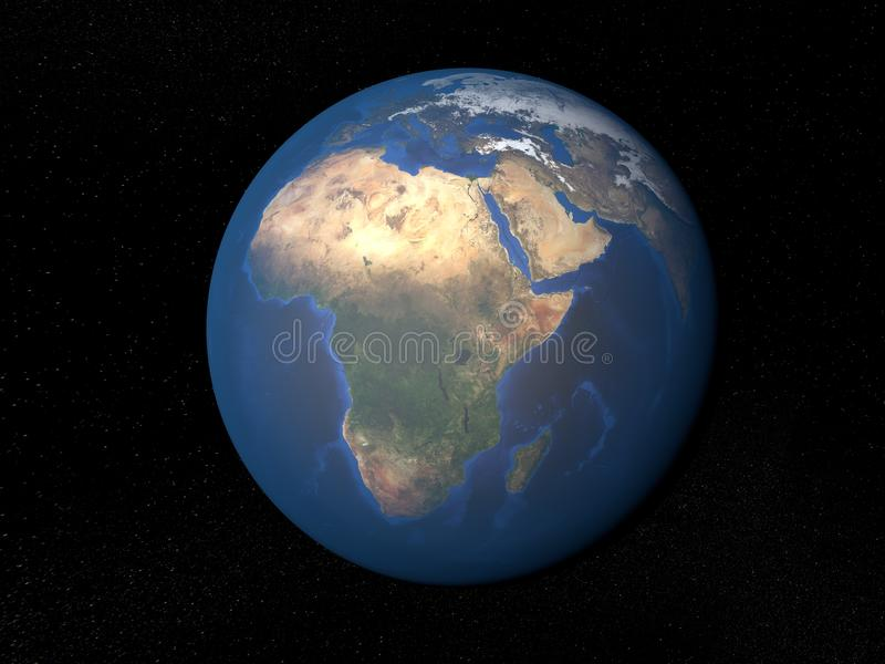 Erde vom Raum Afrika ohne Wolken lizenzfreie abbildung