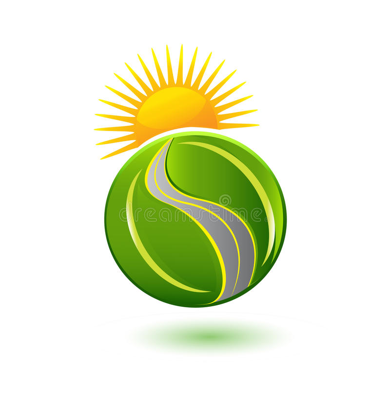 Erde von Blättern Sonne und von Straßenikonenlogo lizenzfreie abbildung