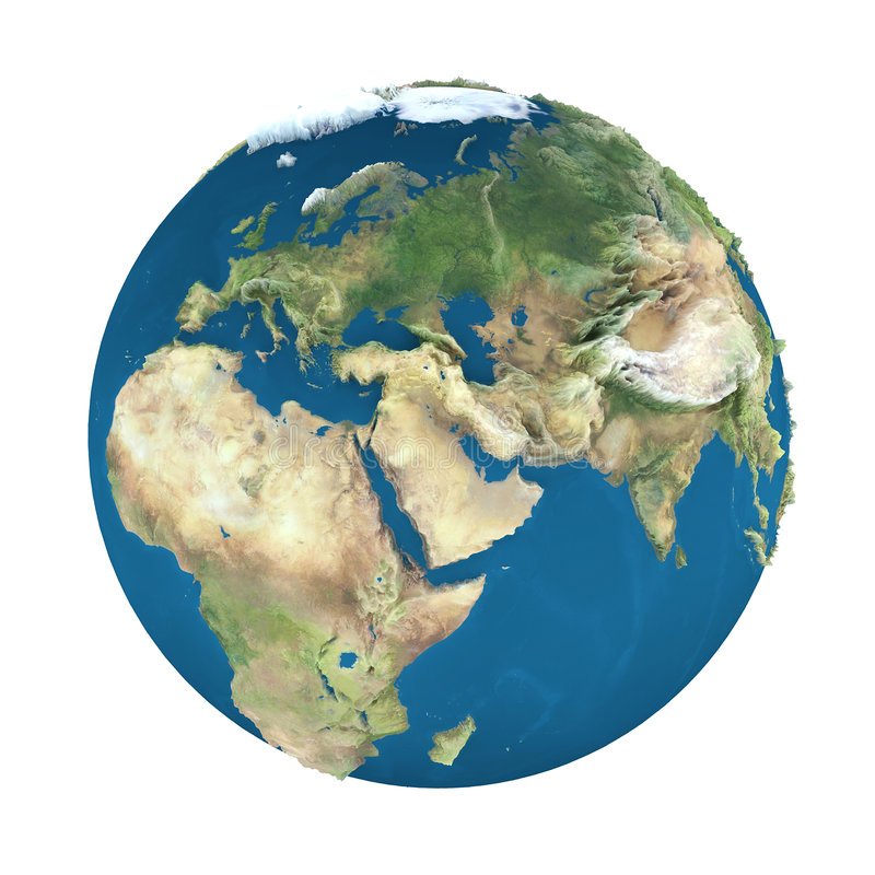 Erdekugel, getrennt auf Weiß stock abbildung