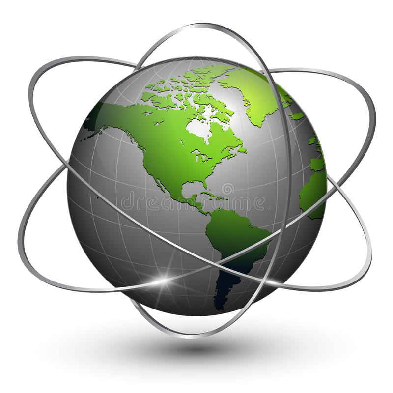 Erdekugel mit Bahnen lizenzfreie abbildung
