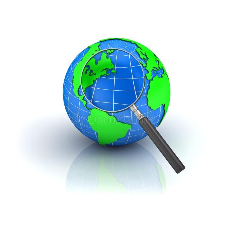 Erdekugel mit Vergrößerungsglas auf Weiß vektor abbildung