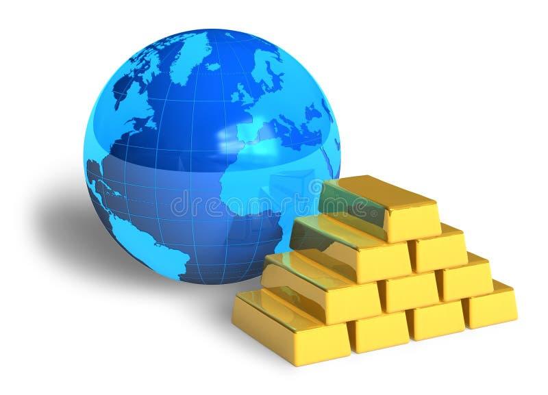 Erdekugel- und -goldstäbe lizenzfreie abbildung
