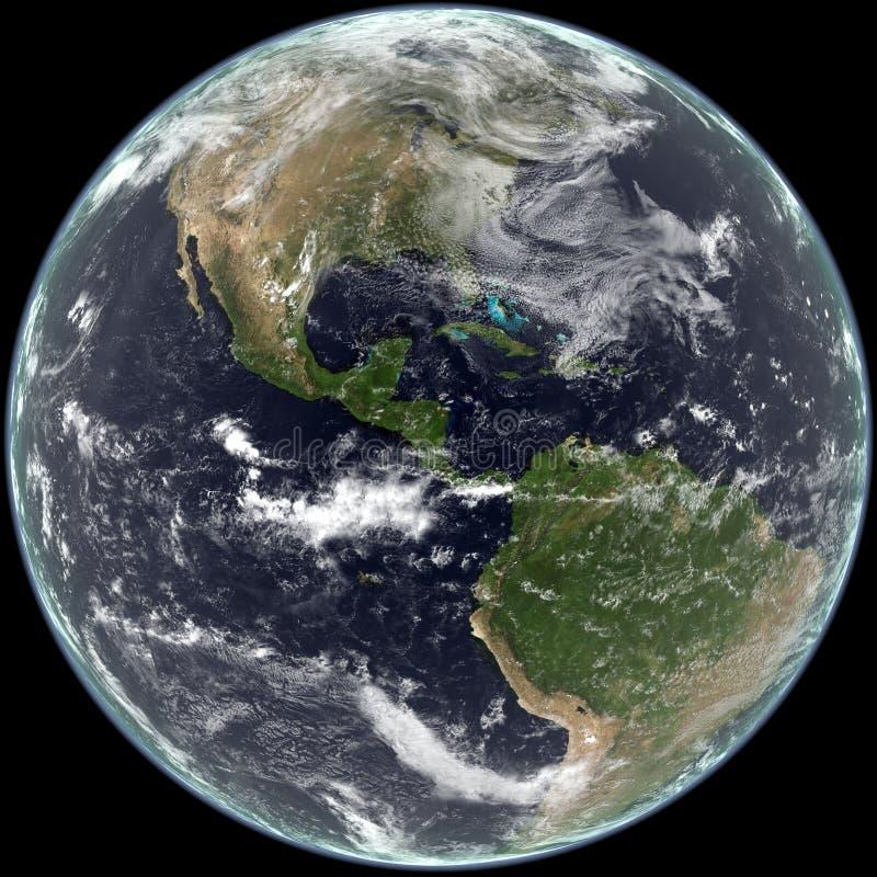 Erdemitte auf Norden und Südamerika. stock abbildung