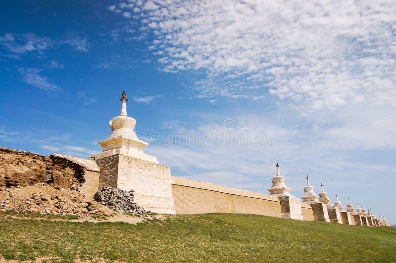 Erdene Zuu修道院墙壁在Kharhorin,蒙古古城 库存照片