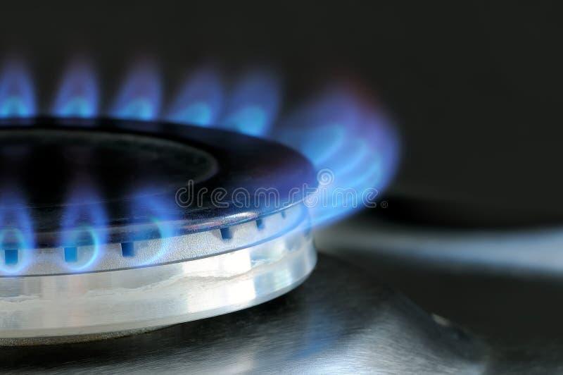 Erdgas, das auf Küchengasherd brennt lizenzfreie stockbilder