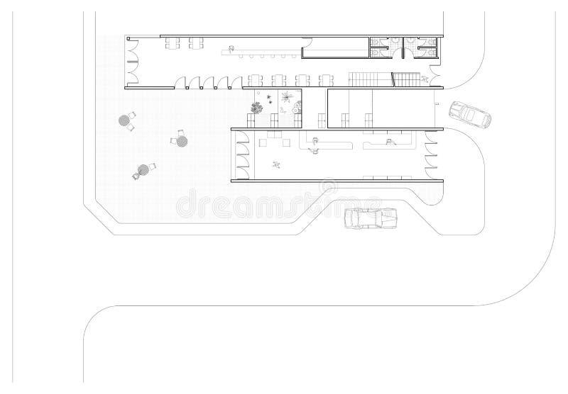 Erdgeschoss-Plan lizenzfreie abbildung