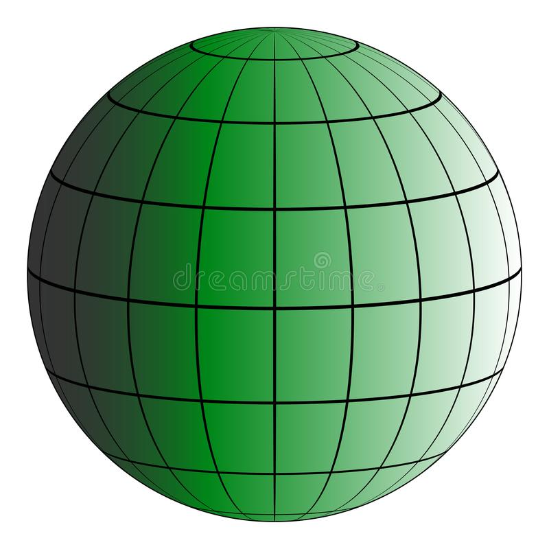 Erdgitter Globus 3D, der Effekt der Beleuchtung durch die Sonne, vector grünen Planeten, Modell der Erde lizenzfreie abbildung