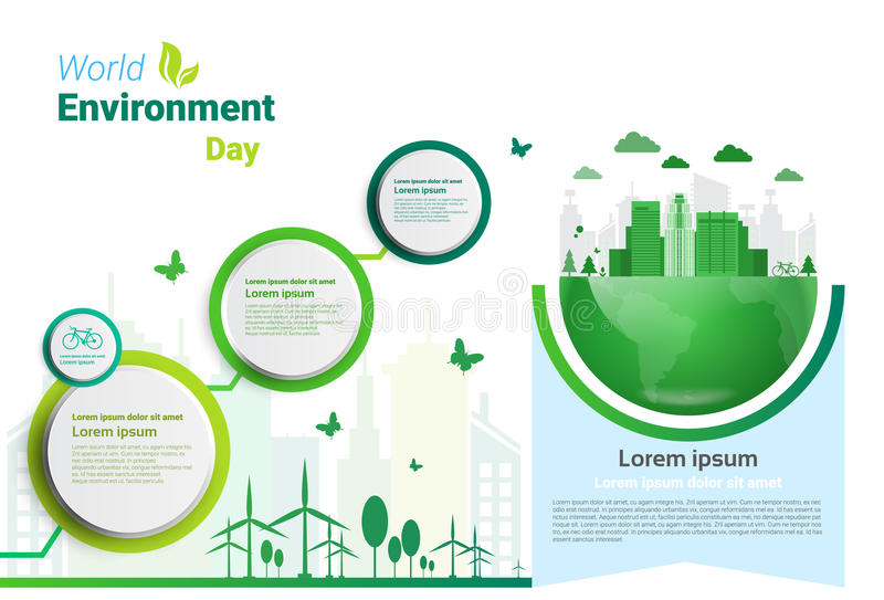Erdgrüne Stadt-Weltumwelttag-Ökologie-Schutz-Feiertags-Gruß-Karte vektor abbildung