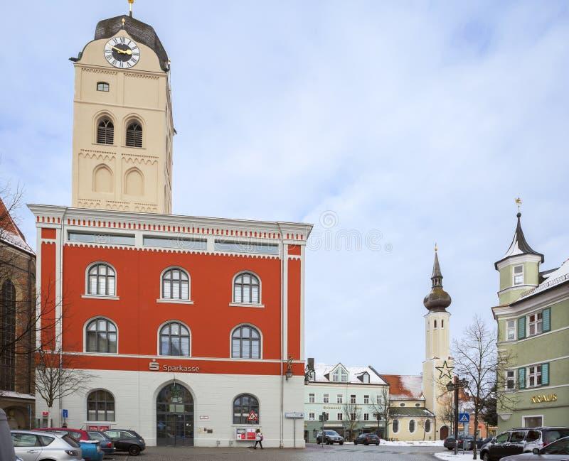 Erding, Германия, и горизонт города Зима стоковая фотография rf