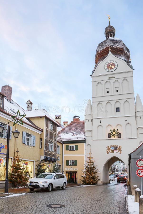 Erding, Alemania, la torre hermosa Schöner Turm Invierno imagenes de archivo