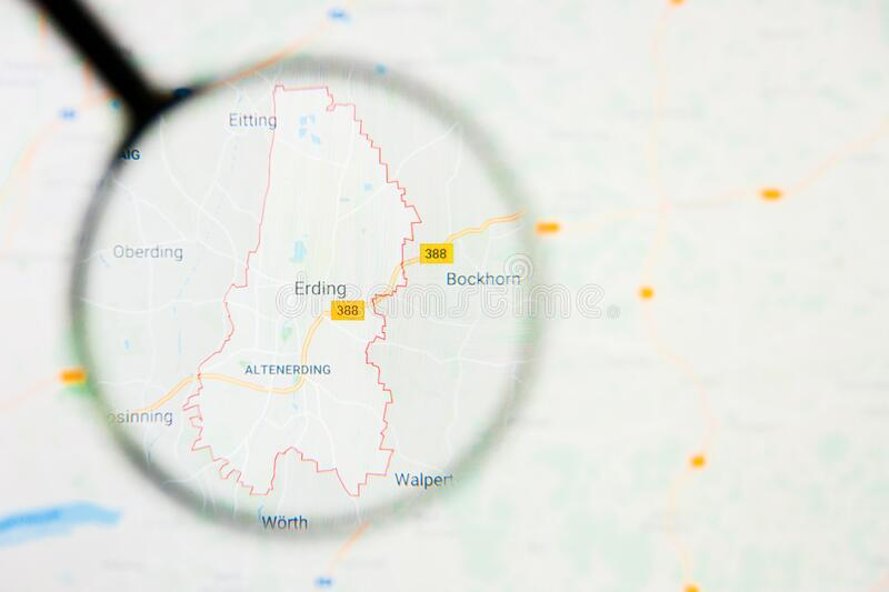 Erding city in Germany, Bavaria visualization illustrative concept on display screen through magnifying glass. Erding city in Germany, Bavaria visualization stock image