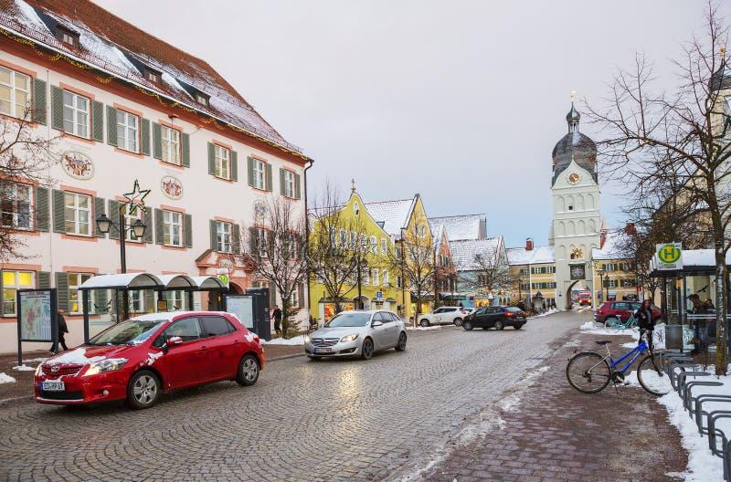 Erding, Germania, la bella torre Schöner Turm Inverno fotografie stock libere da diritti