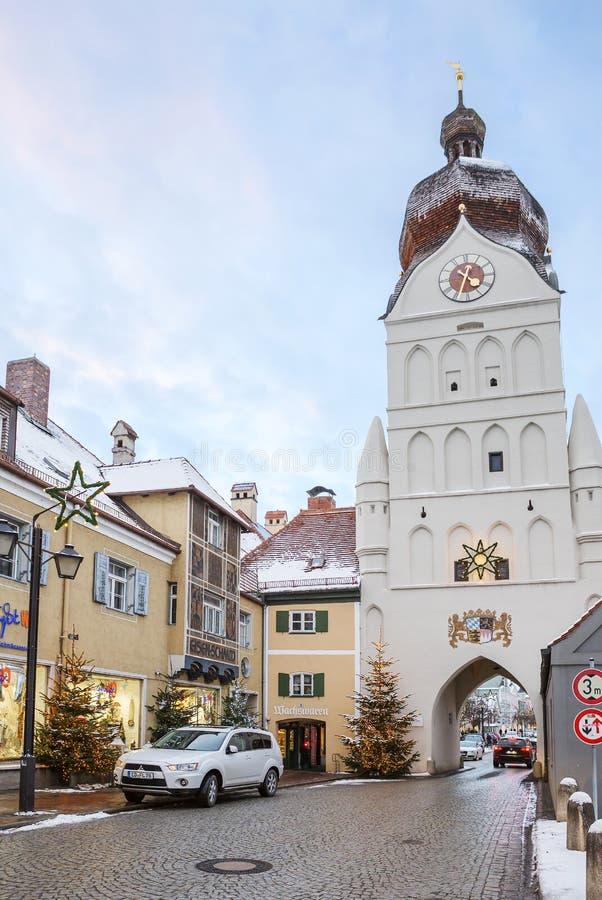 Erding, Germania, la bella torre Schöner Turm Inverno immagini stock
