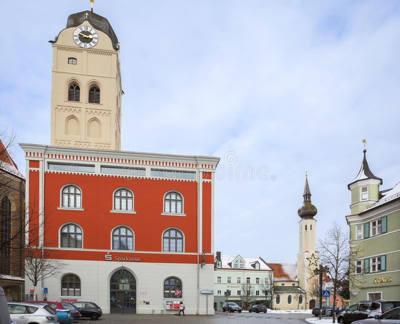 Erding, Germany, and the City skyline. Winter. Erding, located 40 minutes by car from Munich. In Erding there are some beautiful towers, each different in its royalty free stock photography