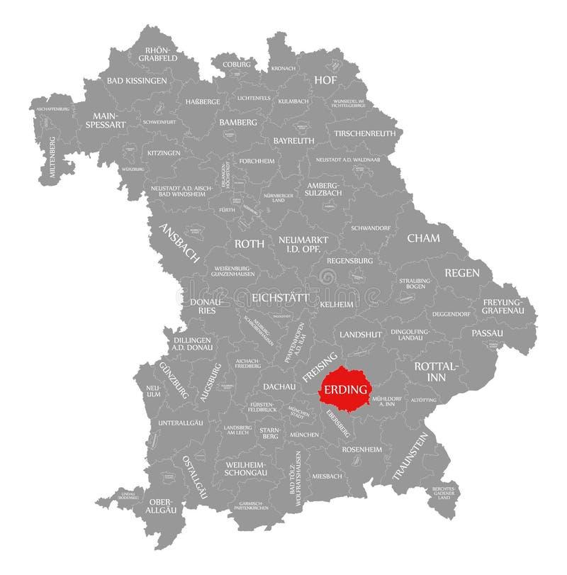 Erding okręgu administracyjnego czerwień podkreślająca w mapie Bavaria Niemcy ilustracji