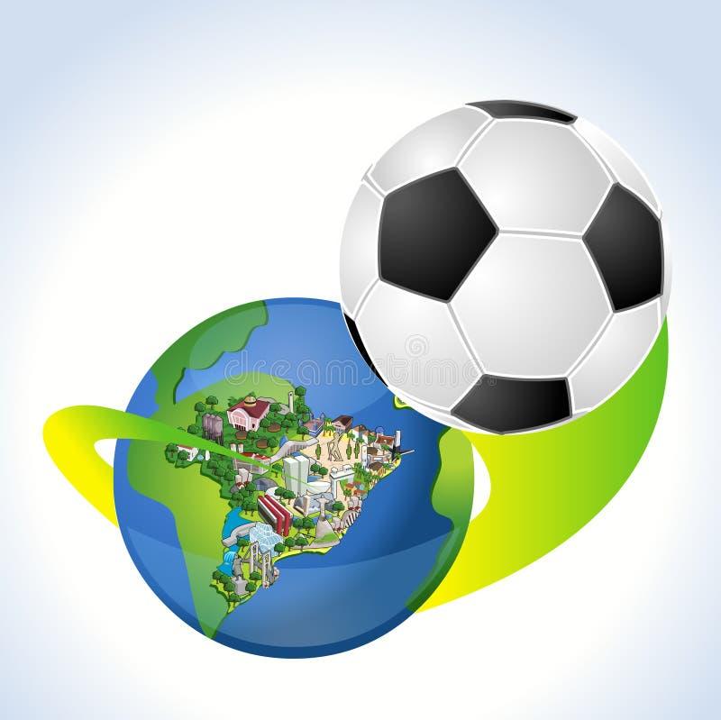 Erdkugel mit einem Fußball, der aus Brasilien herauskommt stock abbildung