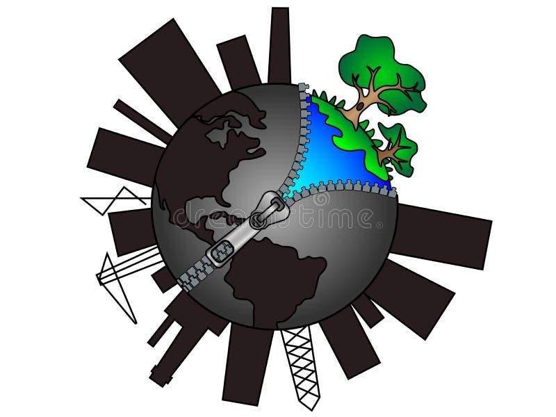 Erdkugel mit Reißverschluss Globales Verschmutzungskonzept Ökologie und Erhaltung der Natur lizenzfreie abbildung