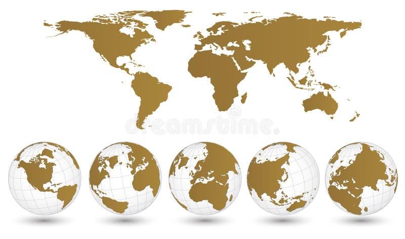 Erdkugel mit Weltkarte-Detail-Vektor-Illustrator stock abbildung