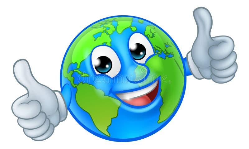 Erdkugel-Weltmaskottchen-Zeichentrickfilm-Figur lizenzfreies stockbild