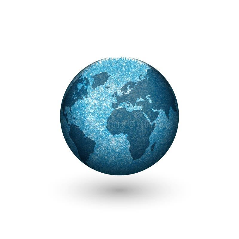Erdkugellogo-Modellentwurf, blauer Planet der kreativen Form 3d mit Kontinenten lizenzfreie abbildung