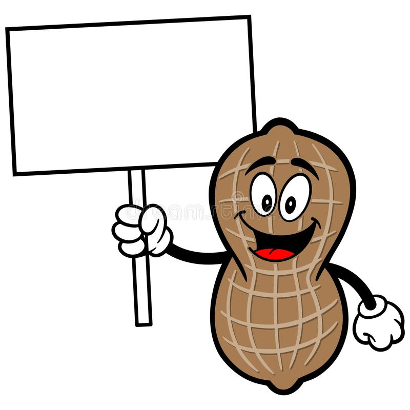 Erdnuss mit Zeichen lizenzfreie abbildung