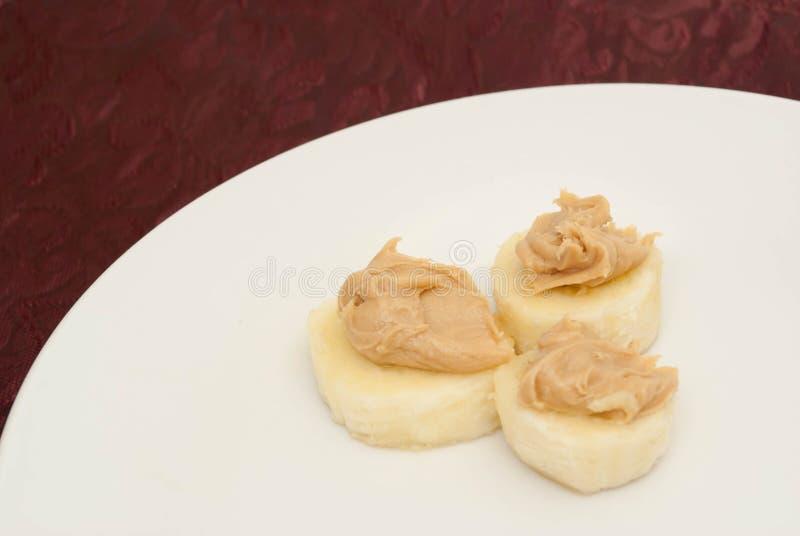 Erdnussbutter-Bananen-Scheiben stockfotos