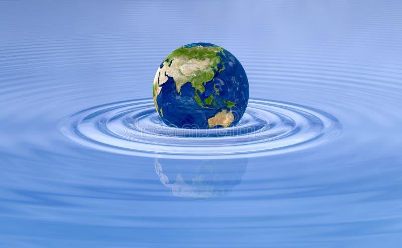 Erdplanet auf Wasserwellenkräuselungen vektor abbildung