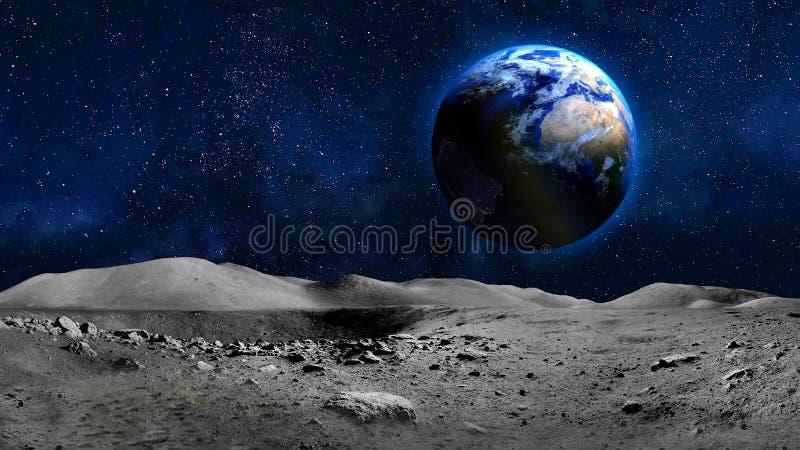 Erdplanetenansicht von der Mondoberfläche stockfotografie