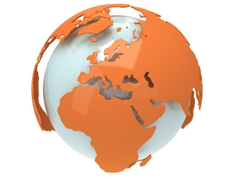 Erdplanetenkugel. 3D übertragen. Europa-Ansicht. stock abbildung