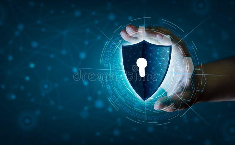 Erdpolygonmaschenplanet Weltgeschäftsmänner rütteln Hände, um Informationen im Cyberspace zu schützen Der Geschäftsmann, der Schi lizenzfreie abbildung