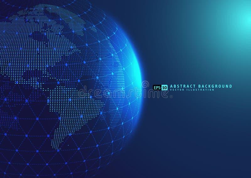 Erdraum-Kugelplanet mit blauen Strahlen lizenzfreie abbildung