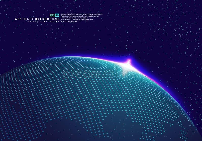 Erdraum-Kugelplanet mit blauen Strahlen vektor abbildung