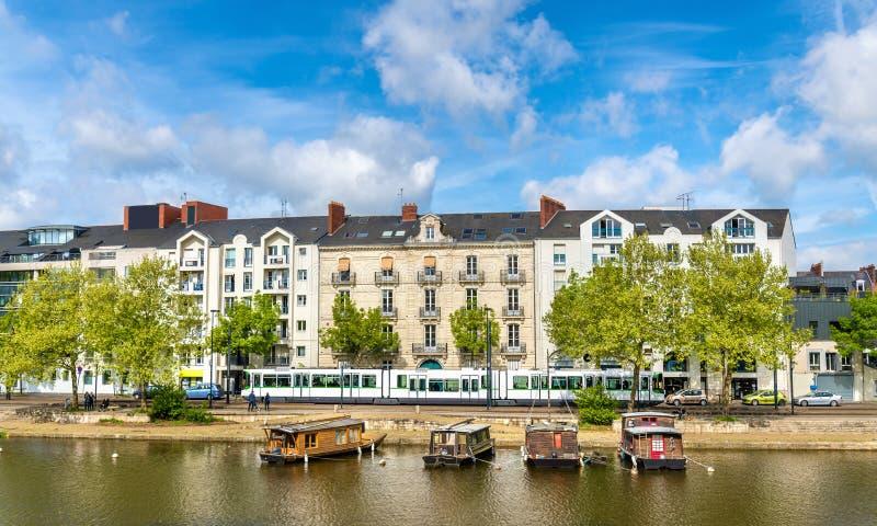 Erdre河在南特,法国 库存图片