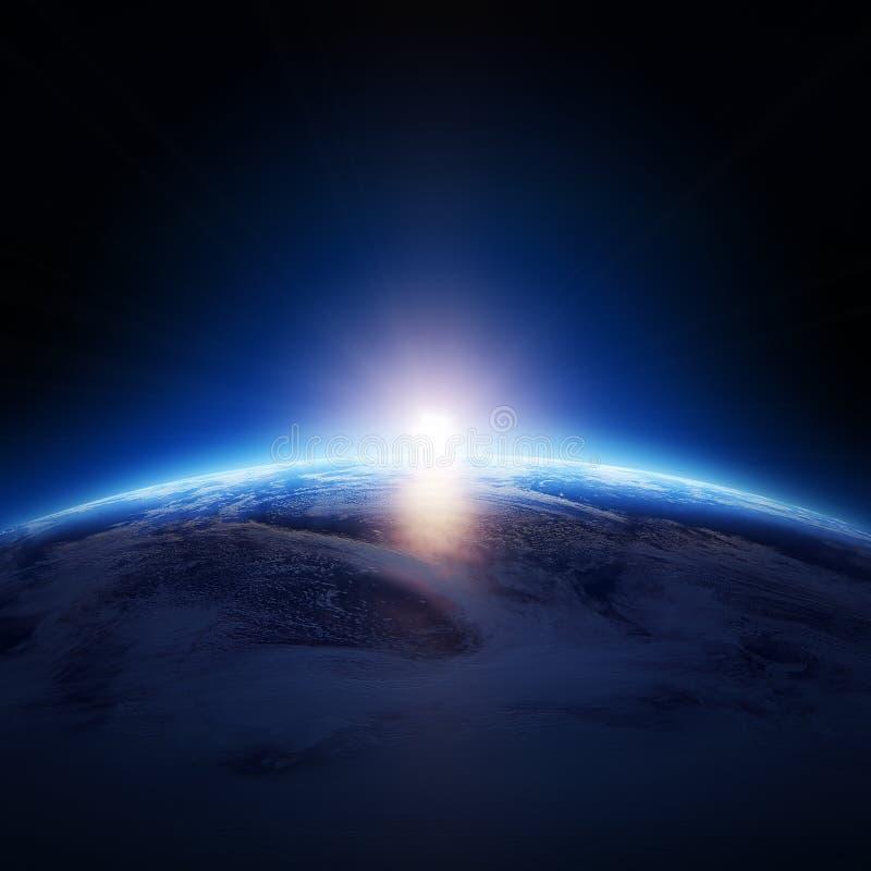 Erdsonnenaufgang über bewölktem Ozean ohne Sterne stock abbildung
