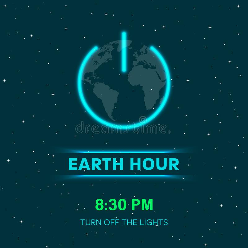 Erdstundenkonzept mit Neonlichtern Flacher Erdplanet im Raum Bedecken Sie Kugel mit AN/AUS-Lichtschalterikone oder -An-/Aus-Schal vektor abbildung
