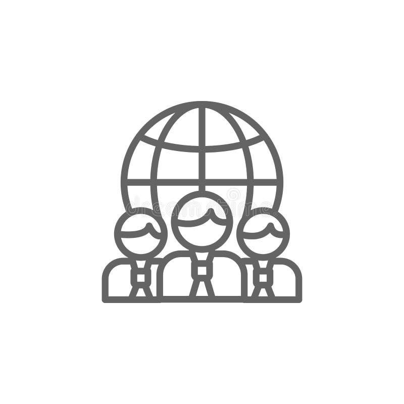 Erdteam-Entwurfsikone Elemente der Gesch?ftsillustrationslinie Ikone Zeichen und Symbole k?nnen f?r Netz, Logo, mobiler App, UI v lizenzfreie abbildung