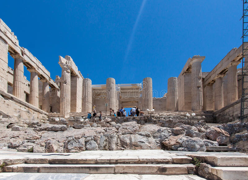 Erechteion Acropolis Athens Greece. The Erechteion temple ruins with its doric columns and the Caryatids female statues, Acropolis, Athens, Greece stock photography