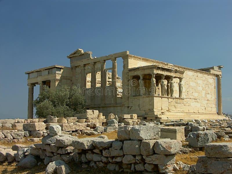 Erechteion Temple with Caryatids. At Acropolis, Athens, Greece stock images