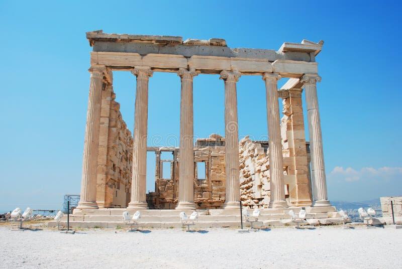 Erechteions-Tempel an der Akropolise in Athen Griechenland stockbild