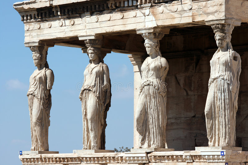 Erechteum caryatids. Caryatids at Erechtheum of Parthenon in Athens Greece royalty free stock photos
