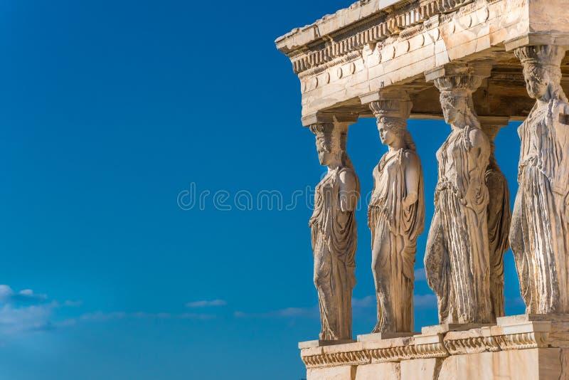 Erechtheion的女象柱在上城雅典希腊 库存图片