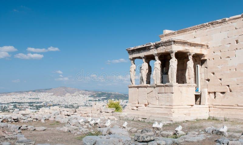 Erechtheion świątynia na akropolu wzgórzu, Ateny Grecja fotografia royalty free