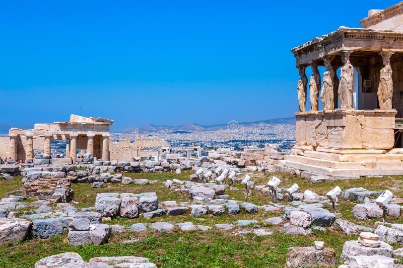 Erechtheion, antyczny akropol fotografia royalty free